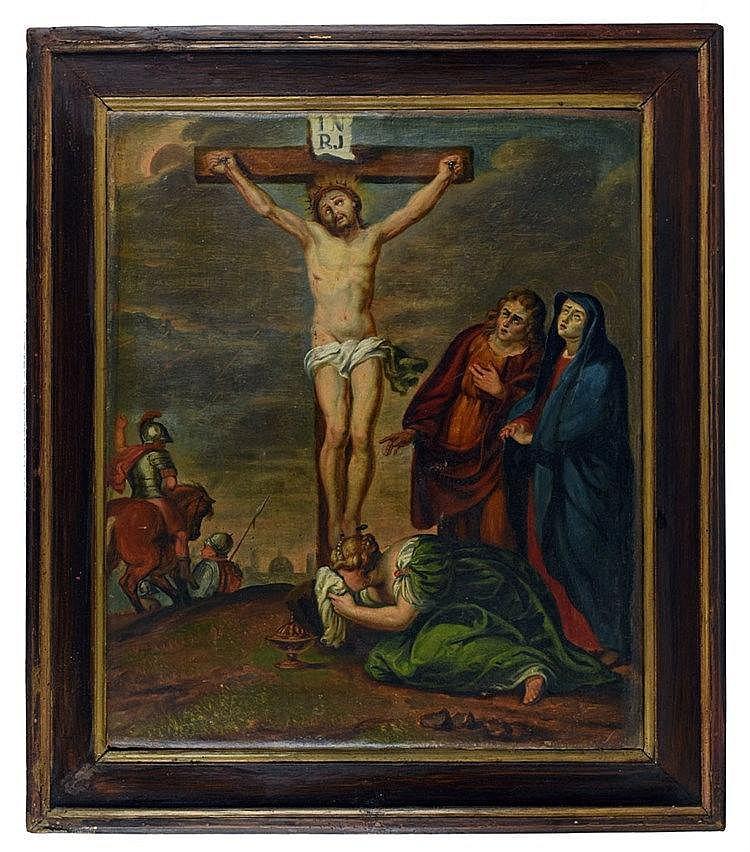 Le Christ sur la croix, entouré de Saint Jean, Marie et Marie-Madeleine. Fi