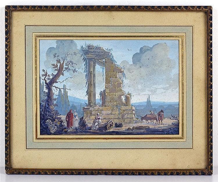 Le Trophée d'Auguste à La Turbie. Gouache sur papier portant monogramme et