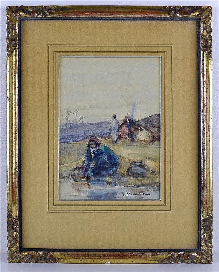 Femme arabe remplissant une cruche. Aquarelle sur papier signée en bas à dr