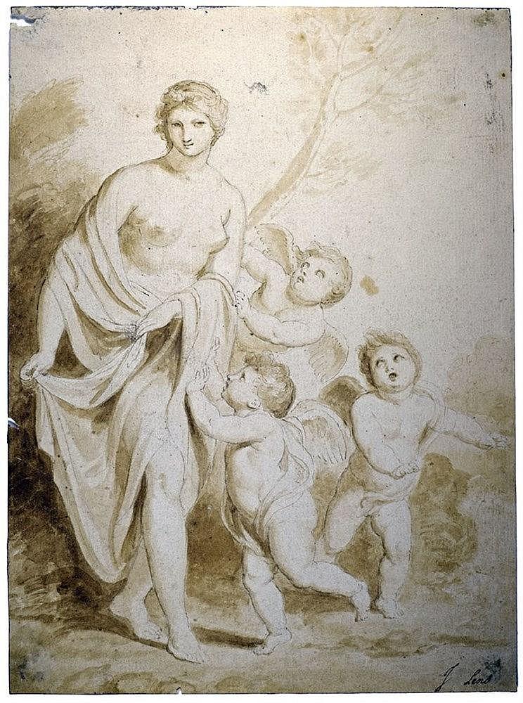 Venus et Amours. Encre et gouache. Indication