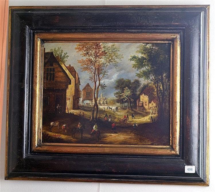 Paysage de campagne. Huile sur métal. Signé en bas à gauche. 24 x 30 cm