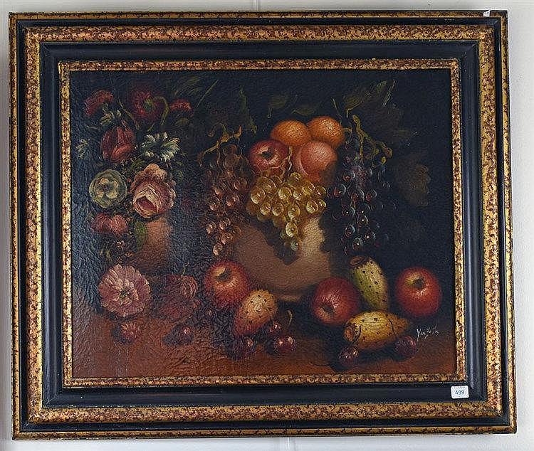Nature morte aux fruits. Huile sur toile. Signé en bas à droite. 40 x 49 cm