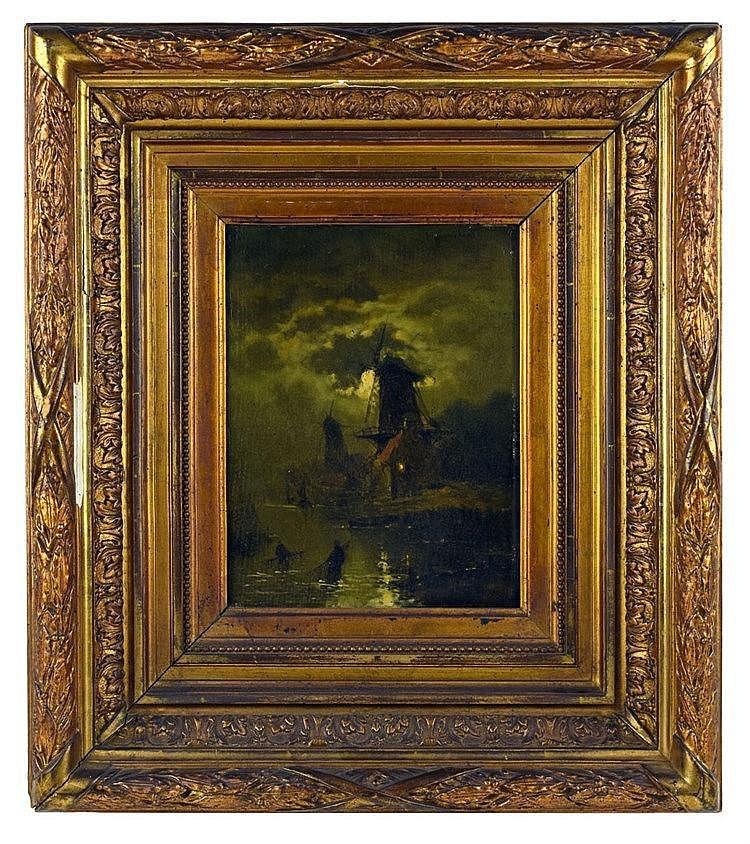 Effet de lune. Huile sur bois. Signé en haut à droite 25 x 18 cm
