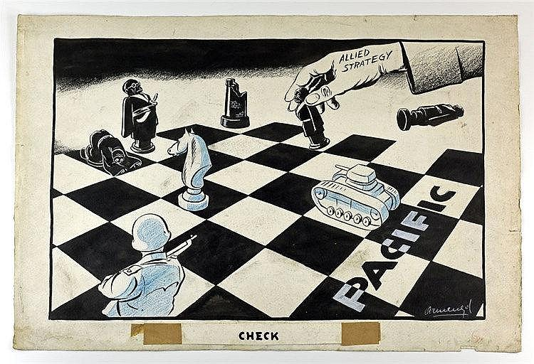 Check caricature de guerre au crayon et encre sur papier représentant le