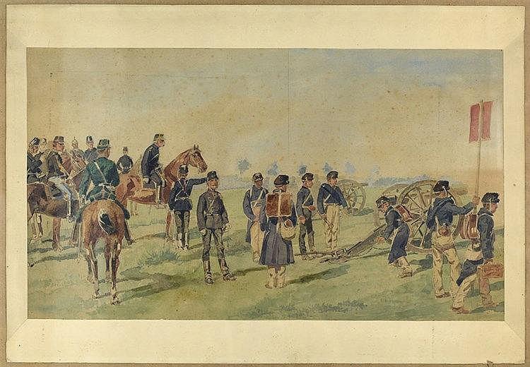 Artilleurs et cavaliers. Deux aquarelles dont l'une signée en bas à droite