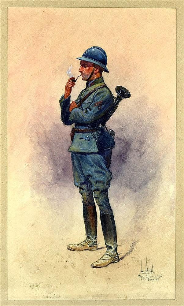 20e Chasseurs Bar-le-Duc 1916 aquarelle sur papier représentant un clairo