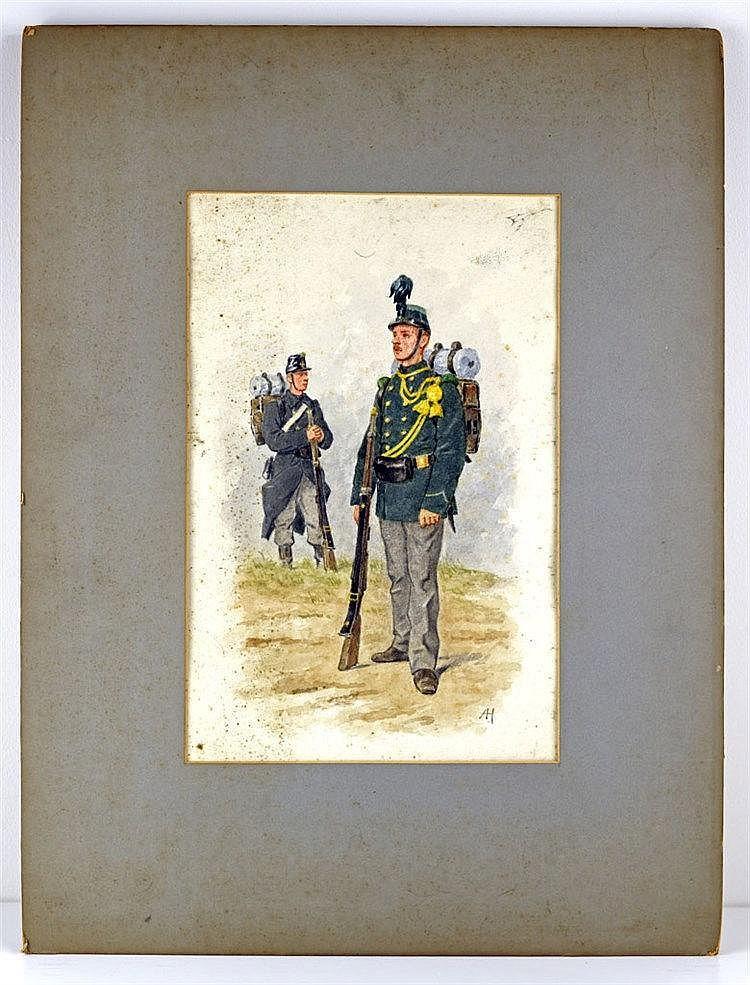 Lot de trois aquarelles illustrants des uniformes de la fin du XIXe dont le