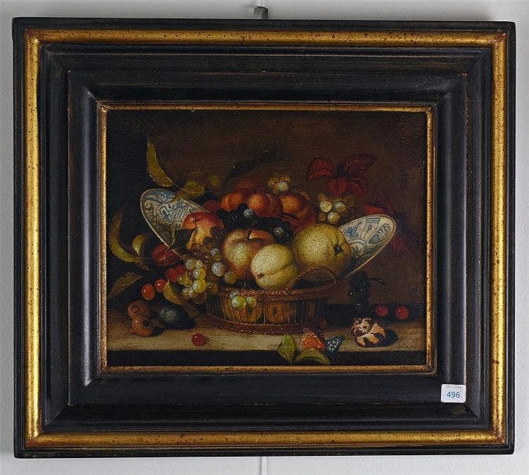 Nature morte aux fruits. Huile sur toile. Signé en bas à droite. 24 x 30 cm