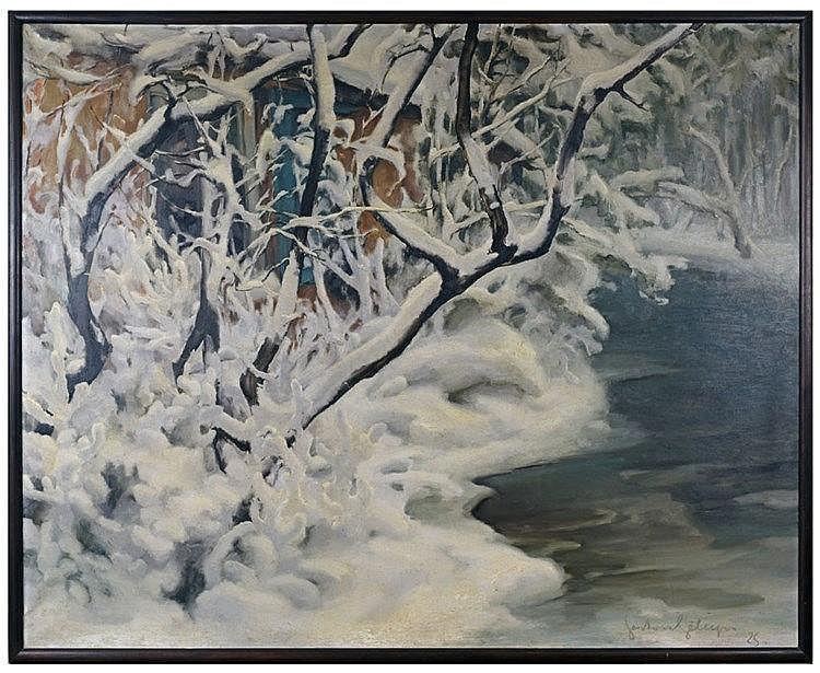 L'hiver. Huile sur toile signée et datée