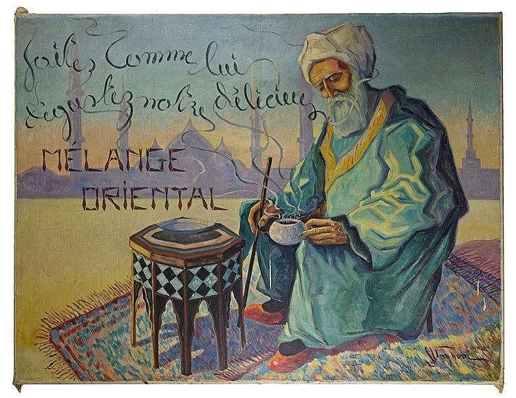 Mélange Oriental huile sur toile publicitaire. Signé 'J. Van Hove' en bas