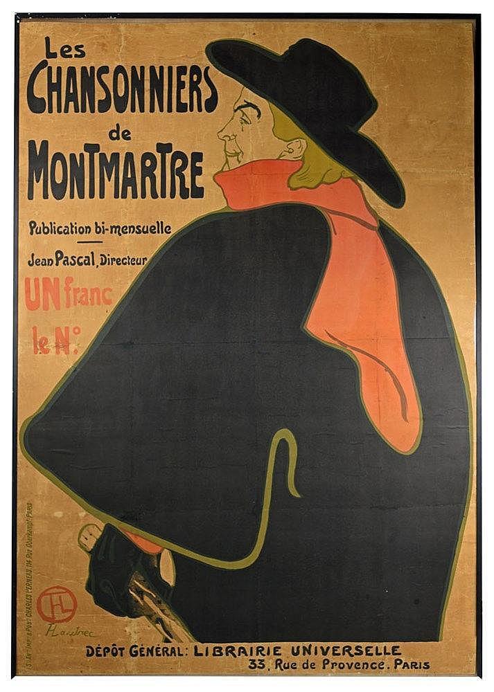 Les chansonniers de Montmartre. Affiche publicitaire originale représenta