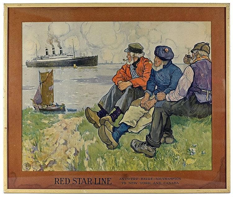 Red Star Line affiche couleur avec son rare passe-partout. Circa 1900 60