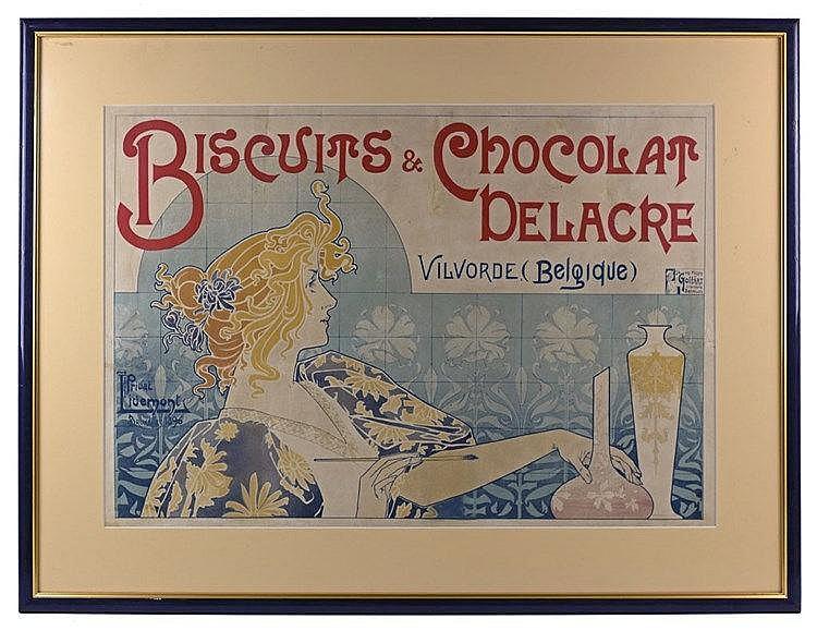 Biscuits et chocolat Delacre affiche couleur 1896 54 x 75cm