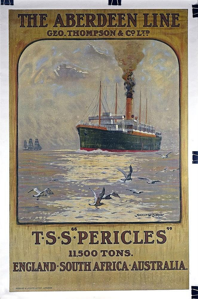 The Aberdeen Line Geo. Thompson & Co Ltd entoilée. TSS Pericles. Affiche