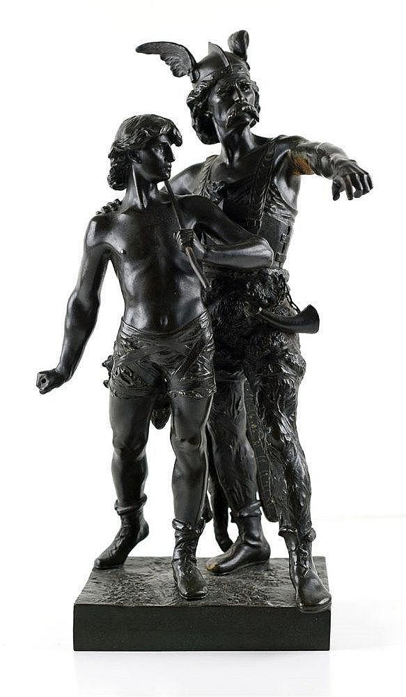 Pro Patria Vercingétorix et jeune guerrier. Bronze à patine brune. Signé Em