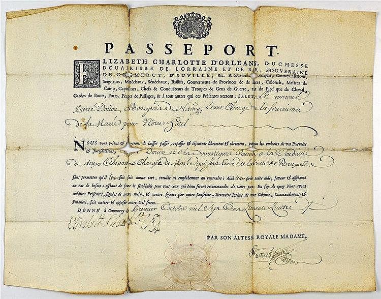 Passeport daté de 1734 portant signature xylographique de la duchesse douai