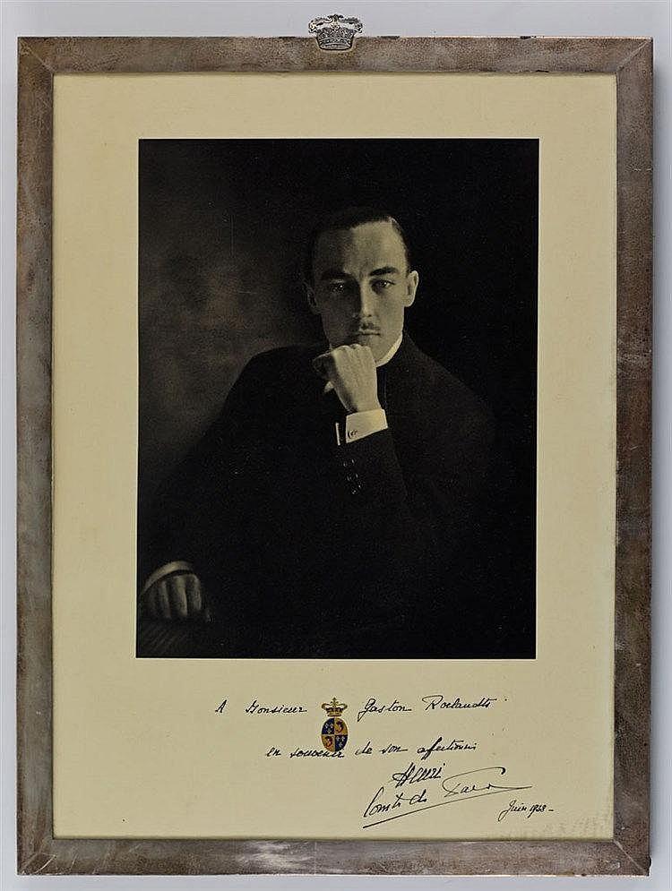 Paire de portraits lithographiés autographiés et datés par le Comte et la C