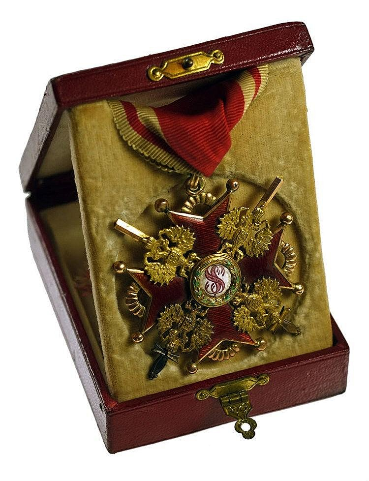 Croix de commandeur 2ème classe à titre militaire en or poinçonné 56 zolotn