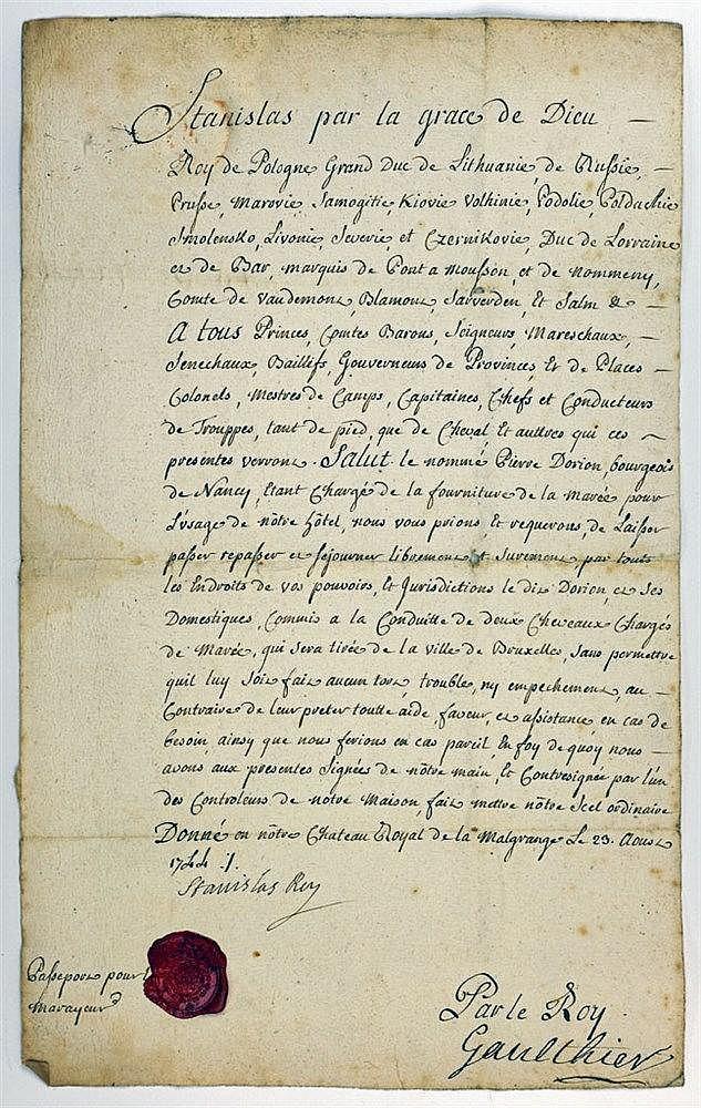 Passeport daté de 1744 portant signature manuscrite du souverain. Emis au n