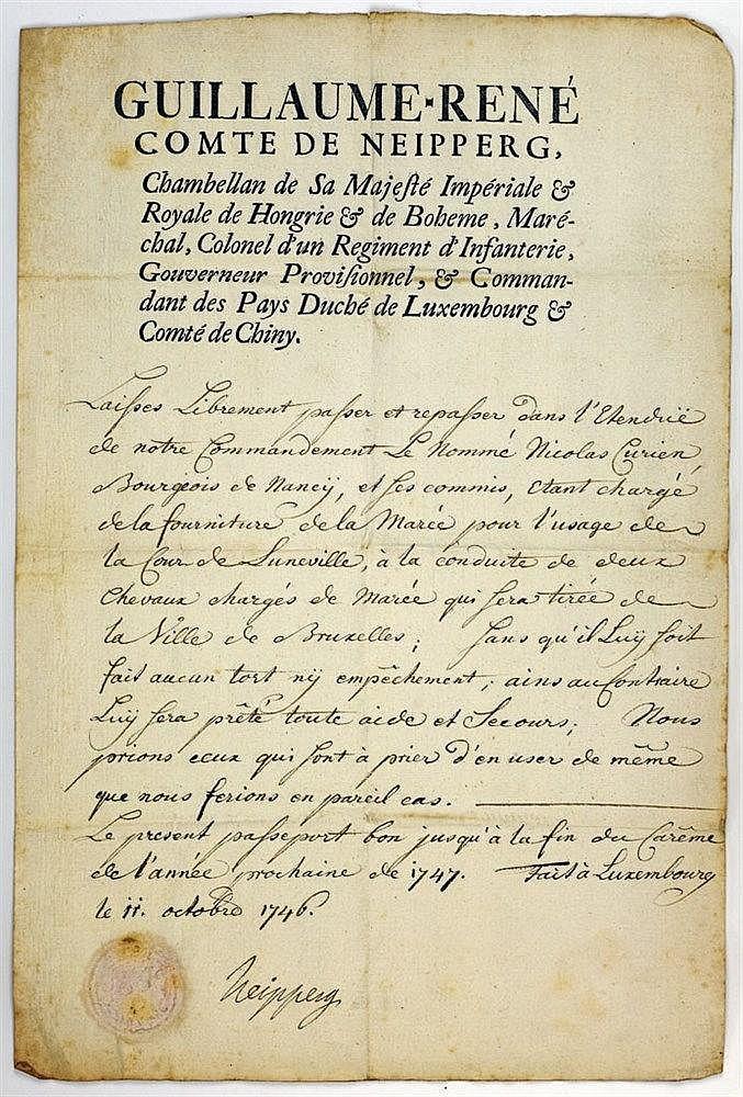 Passeport daté de 1746 portant signature autographe du comte. Emis au nom d