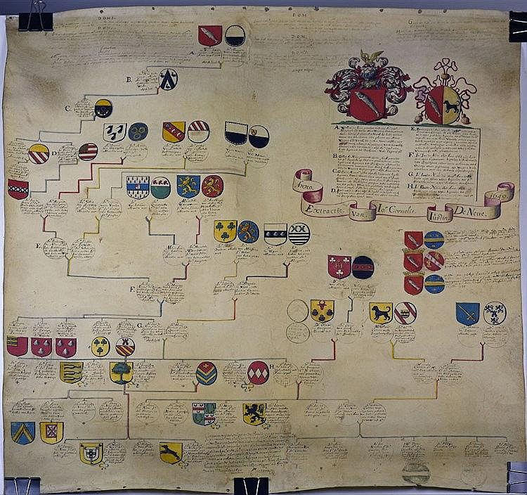 Généalogie entre 1298 et 1690 réalisée pour Cornelius Justin de Neve né en