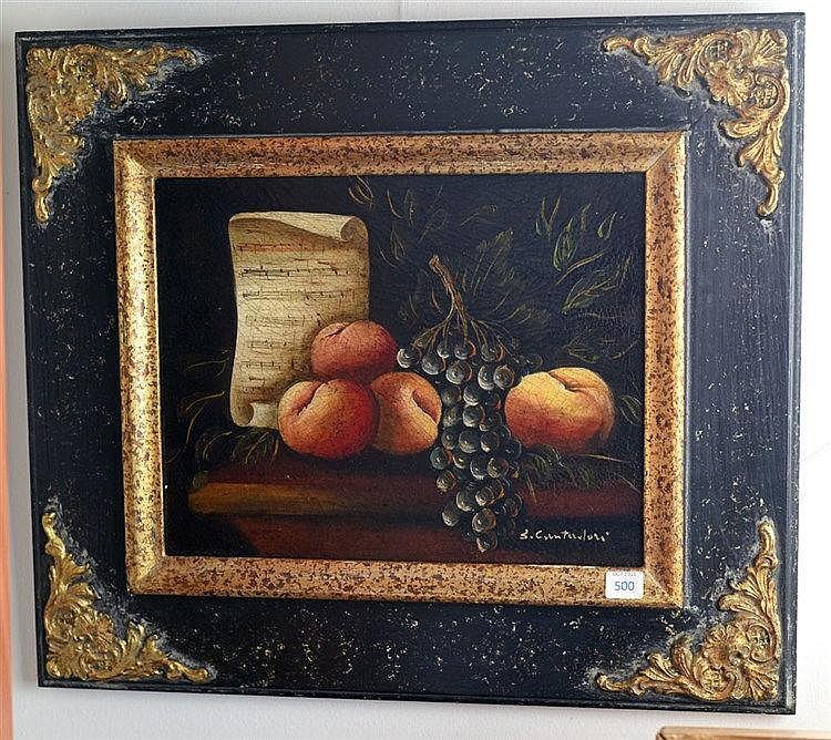 Nature morte. Huile sur toile. Signé en bas à droite. 24 x 30 cm
