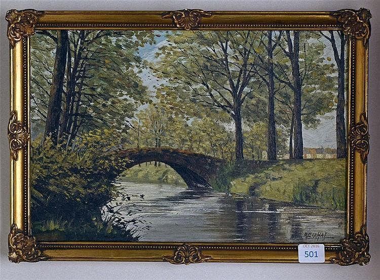 Paysage avec pont. Huile sur panneau. Signé en bas à droite. 19 x 28 cm