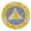 Plat en pâte de verre au décor jaune et violet de lions et fleurs sur fond
