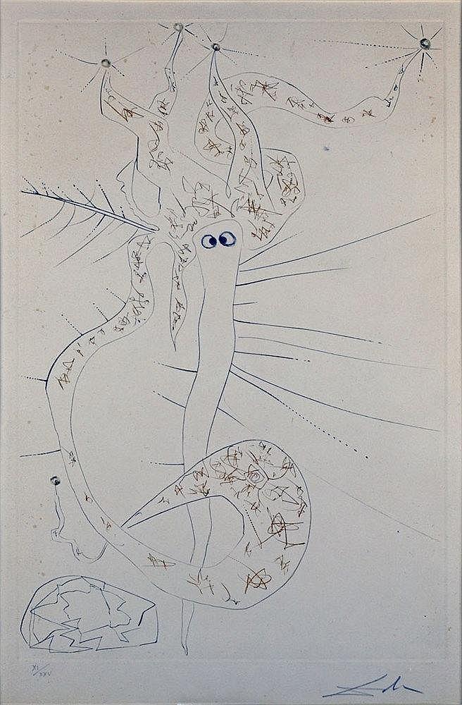 Tristan le Fou, lithographie. Monogrammé en bas à droite, XXI/XXV.  52 x
