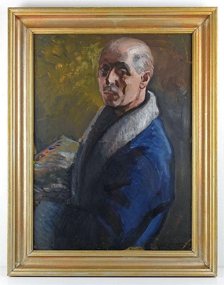 Autoportrait signé et daté 1930. On y joint un 'Intérieur' signé. Huile sur