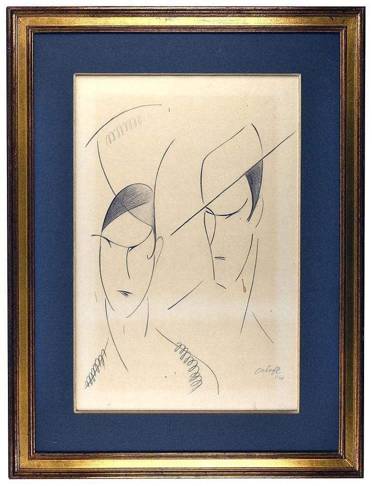 Couple d'élégants. Crayon sur papier signé et daté 1937 en bas à droite 82