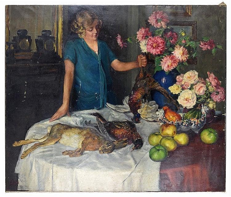 Mise en scène de la nature morte au gibier, fleurs et fruits. Signé 'Louis