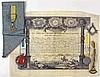 Magnifique archive d'un Maître reçu en 1835. Un diplôme, deux pendants