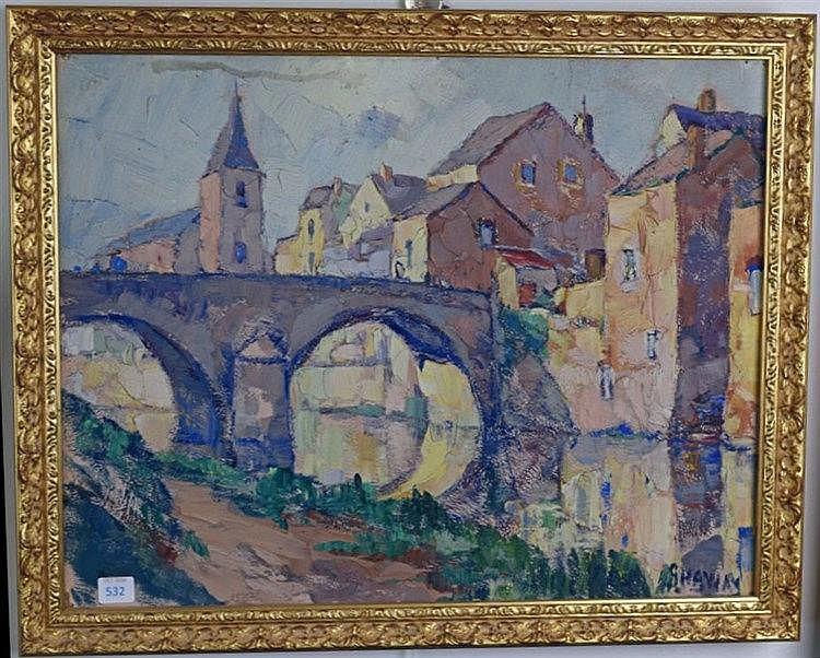 Paysage avec pont. Huile. 34 x 44 cm