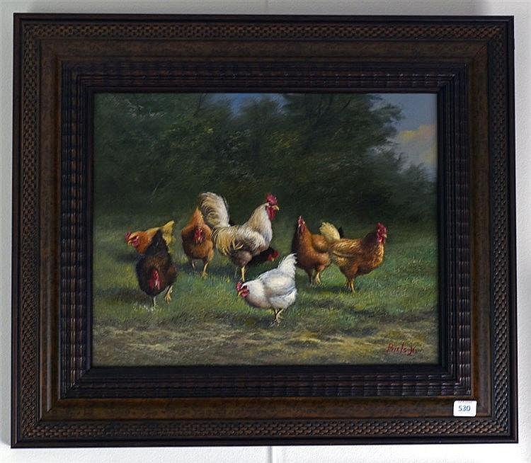 Coq et poules. Huile sur panneau. 28 x 35 cm