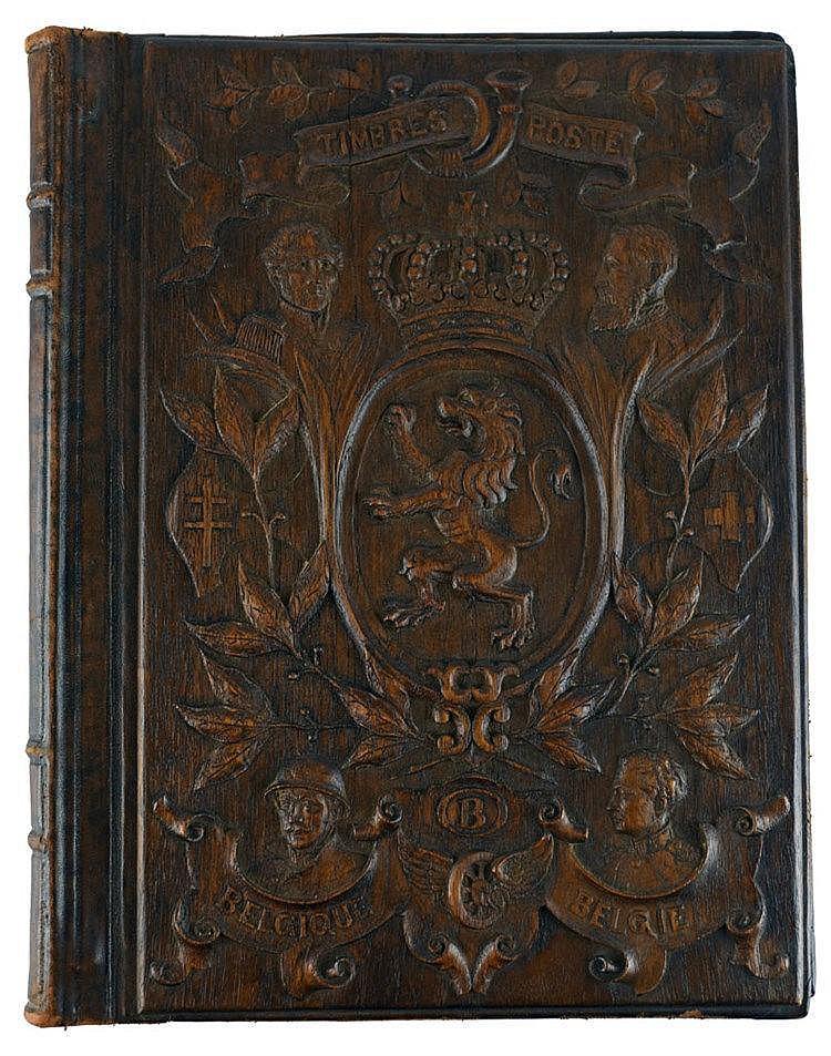Belle reliure d'album de timbres en bois sculpté, portrait des 4 rois et li