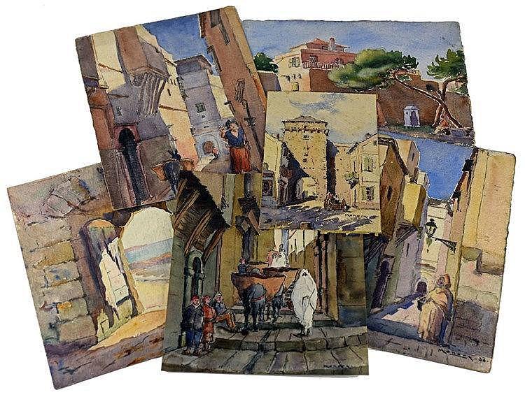 Ensemble de 7 aquarelles des années 30 dont des vues d'Algérie. Note:Mono