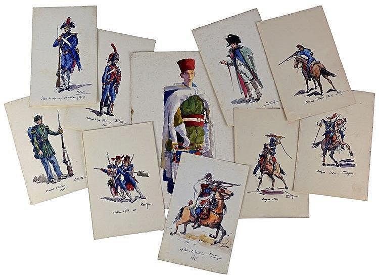 Ensemble de 10 aquarelles des années 30 représentant des uniformes militair