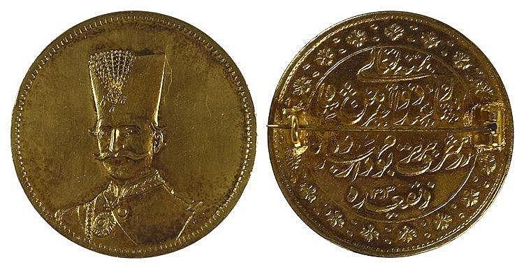 Médaille d'or 22 carat de 10 Toman montée en broche P:24 g