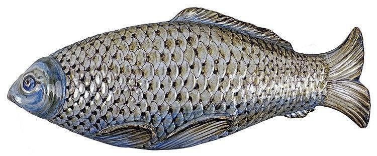 Terrine à poisson en faïence de Bruxelles avec son couvercle. Très bel état