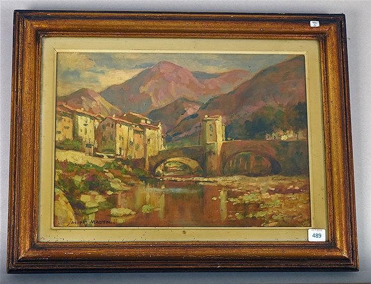 Vieux pont à Sospel. Huile sur carton. Signé en bas à gauche. 23 x 32 cm