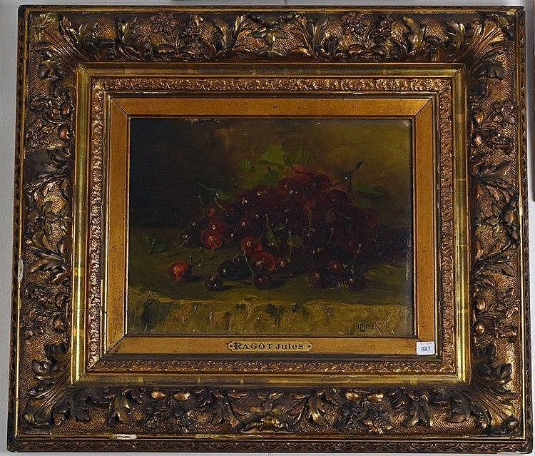 Nature morte aux cerises. Huile sur bois. Signé en bas à droite. 27 x 35 cm