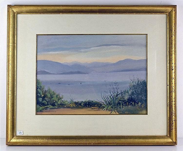Petite crique à Santander Aquarelle, signée en bas à gauche, 56 cm x 69 c