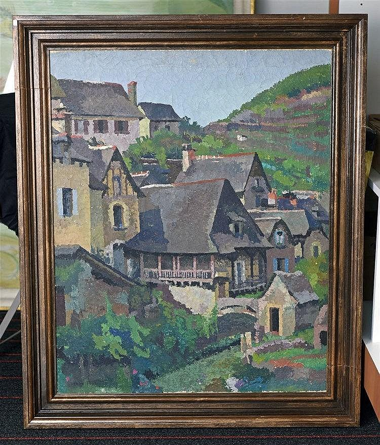 Vieille maison à Estaing, Aveyron Huile sur toile, signé en bas à droite,