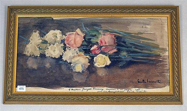 Nature morte aux roses Aquarelle, signée et dédicacée à Madame Georgette To