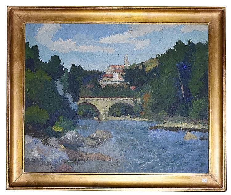 Pont sur l'Aude à Lagrasse, Aude. Au fond la chapelle Huile sur toile, si