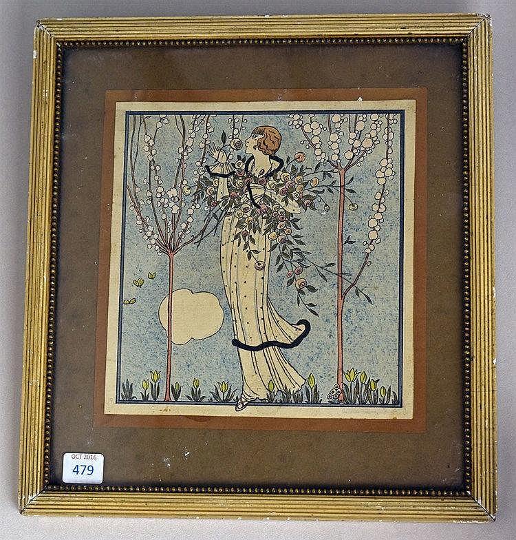 Elégante au jardin Technique mixte sur papier, 27 cm x 26 cm