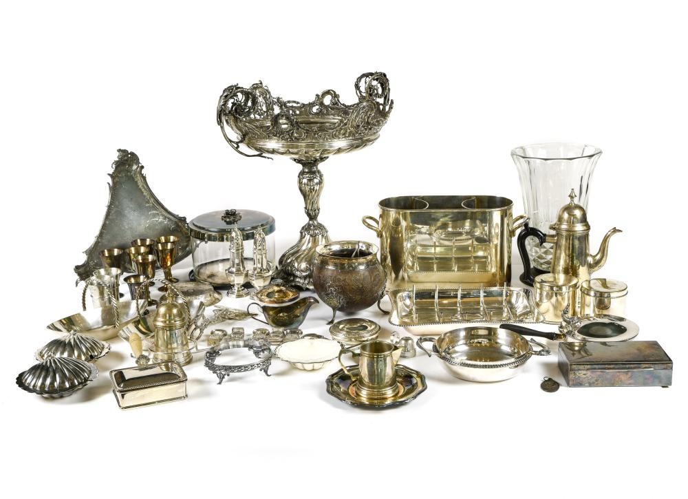 Large lot of silver-plated metal