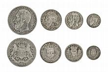 CONGO, Free state, Leopold II (1885-1908), 5 Francs, 1887, 24.86g, 2 Francs, 1887, 10.03g, Franc, 1887, 5.05g, 50 Centimes, 1887