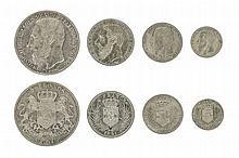 CONGO, Free state, Leopold II (1885-1908), 5 Francs, 1891, 24.88g, 2 Francs, 1891, 9.95g, Franc, 1891, 4.85g, 50 Centimes, 1891